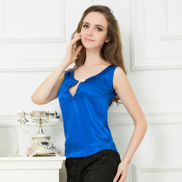 new summer 2017 ladies casual v-neck sleeveless vest / woman's pure color silk cool vest tank tops