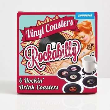 Rockabilly Vinyl Record Coaster Six Piece Set
