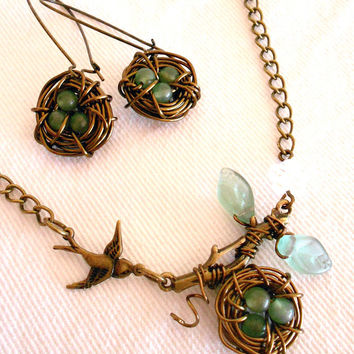 SILAS Woodland Birds Nest Aventurine Necklace & Earrings Matching Set by WilwarinDesigns