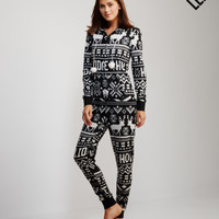 LLD Fair Isle Holidaze Fleecy Hooded Onesuit