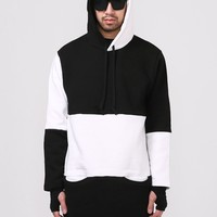 Mens Multi Paneled Long Extended Cozy Hooded Sweatshirt at Fabrixquare