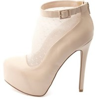 Swiss Dot Mesh-Topped Platform Booties by Charlotte Russe