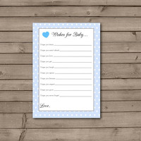Blue Polka Dot Wishes For Baby: INSTANT DOWNLOAD