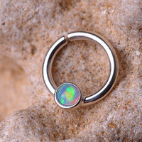 SEPTUM RING / Septum / EAR /Cartilage Sterling Silver with 3mm synthetic Opal. Handcrafted
