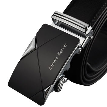 2016 Men Leather Belts Automatic Buckle For Men Stainless Steel High Quality  Waist Strap Belt Waistband Ceinture Homme #108