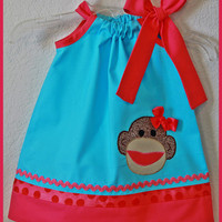 Sock Monkey Applique Dress