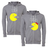 mr mrs pacman matching couple zipper hoodie