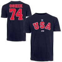 Old Time Hockey TJ Oshie USA Hockey 2014 Sochi Olympics T-Shirt - Navy Blue