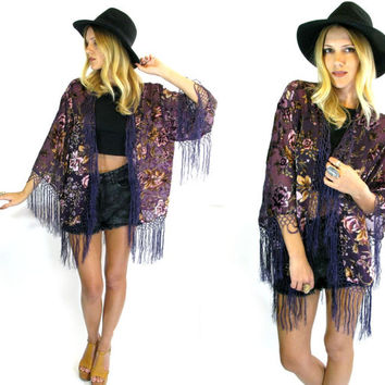 Midnight GYPSY Purple Floral Burnout Fringe KIMONO Jacket