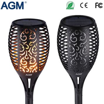 AGM LED Solar Garden Flame Torch Light Flicker Candle Solar Powered IP65 Waterproof Hanging Decorative Lamp For Outdoor Pathes