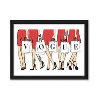 Vogue Shopping Girls Fashion Illustration Art Print