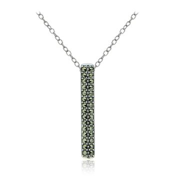 Sterling Silver Marcasite Vertical Bar Drop Necklace