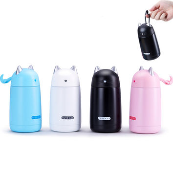 Stainless Steel Thermos Mug Vacuum Cup New Model Cartoon Cat Shape Heat Preservation Cup Kids Water Bottle KC1415