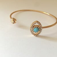 Evil Eye Open Cuff Crystal Bracelet