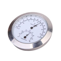 New Alloy Silver Round Humidity Moisture Thermometer Hygrometer Case For Guitar Violin Bass Useful Portable