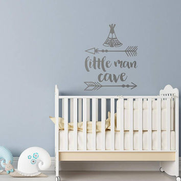 Little Man Cave Baby Nursery Wall Decal- Boys Room Wall Decal Nursery Decor- Wall Decal Kids Room Decor- Woodland Nursery Wall Decor #170