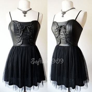 NEW Black GOTH Fuax-Leather Bustier Laced-Up Full Mesh Skirt PUNK Rock Dress