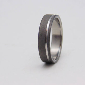 Sandblasted Titanium ring with polished groove,  Handmade titanium wedding band
