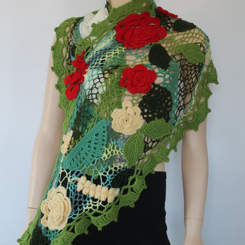OOAK / Freeform Crochet Floral Scarf - Shawl with Silver Pin / Irish Crochet Lace / 3D Flowers / Art Scarf