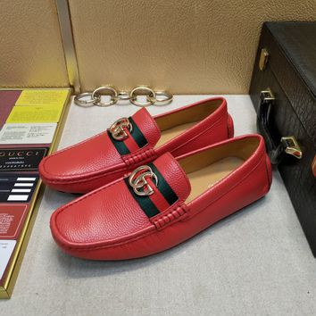 Gucci Men's 'Jordaan' Horsebit Calfskin Leather Loafer Shoes Best Quality red