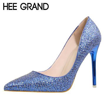 HEE GRAND Bling Glitter Pumps Platform Sexy Thin High Heels Slip On Women Shoes Pointed Toe Casual Wedding Shoes Woman WXG340