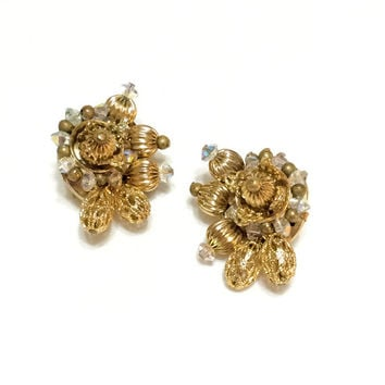Hobe' Gold & Crystal Earrings, Gold Cluster Earrings, Goldtone Beaded Earrings, Wedding Jewelry, 1950s, Vintage Jewelry