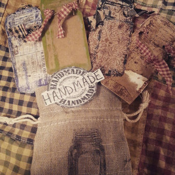 Grunge mason jar tags coordinating burlap bag