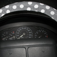 Polka dot white and grey steering wheel cover