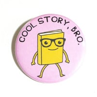 Cool Story Bro Book Buttons Cute Nerdy Pins Book Geek Glasses Purple Accessories Library Buttons Librarian Pinback Buttons