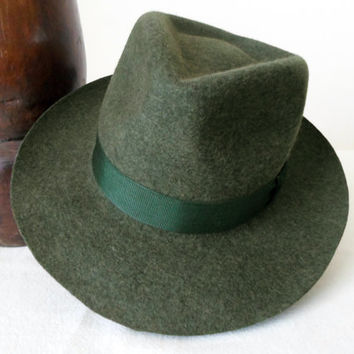 Dark Green Tweed Wool Felt Fedora - Wide Brim Pure Wool Felt Handmade Fedora Hat - Men Women
