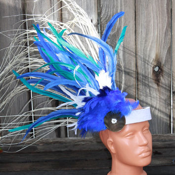 Tahitian headpiece in Turquoise, blue and white
