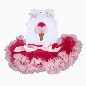 Girls First Birthday Outfit- Pettiskirt - Tutu - Pettiskirt - Pink Skirt -  - Baby Outfit -Ice  Cream Cone Couture Tutu Set