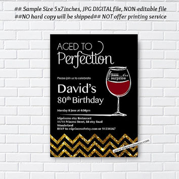 wine invitation, Aged to Perfection Wine birthday invitation,surprise birthday, gold black design , Party invitation Design - card 785