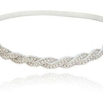LMFUS4 women girls bohemian sweet vintage crystal rhinestone white beads braided knitted elastic headband hair accessories