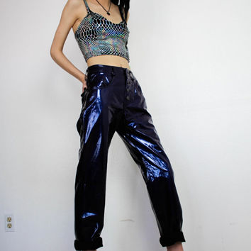 DEVOWEVO Oil Slick PVC Vinyl 90s Goth Club Kid Plastic Pants / vintage