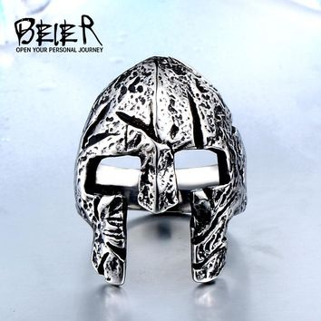 Beier 316L Stainless Steel Man Skull Ring Unique Designed Rome Mask Halloween Party Punk Rock Jewelry Free shipping BR8-472