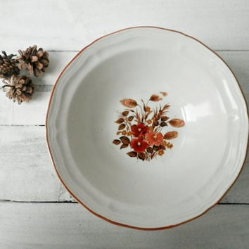 Autumn Floral Bowls, Vintage Bowl Set, Cereal Bowls, Holiday Entertaining, Shabby Chic, Rustic Kitchen