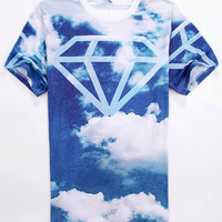 Blue Sky Diamond White Clouds 3D Emoji Print Short Sleeve T-shirt