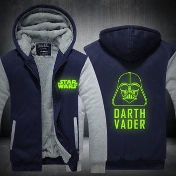 New film Star Wars Jedi Knight cosplay Winter Jackets and Coats  hoodie Darth vader Hooded Thick Zipper Men cardigan Sweatshirts
