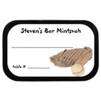 Ball and Glove Personalized Bar Mitzvah Placecard Mint Tins, for bar/bat mitzvahs, parties, or other events with candy favors!