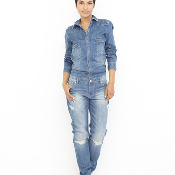 BOY WONDER Classic Denim Jumpsuit at FLYJANE