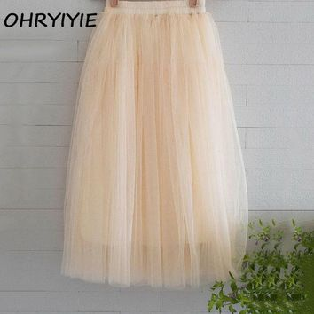 DCCKDZ2 OHRYIYIE Tulle Skirts Womens 2017 Summer Fashion High Waist Long Skirt Elastic Waist Sun Fluffy Tutu Skirt Jupe Longue Femme