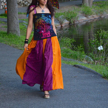 Wrap Skirt, Gypsy skirt, Tribal Skirt,  belly dance skirt, Boho Skirt, Festival Skirt, Music Festival Skirt
