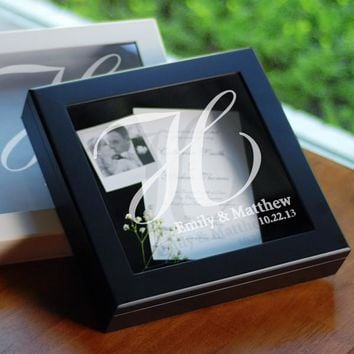 White Wedding Wishes Keepsake Shadow Box