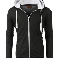 LE3NO Mens Basic Zip Up Drawstring Hoodie Jacket
