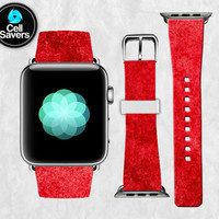 Red Watercolor Texture Scarlet Tumblr Paint Cute New Apple Watch Band Leather Strap iWatch for 42mm and 38mm Size Metal Clasp Watch Print