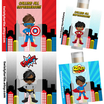 Superhero Lip Balm- Set of 5 - Superhero Birthday Ideas - Superman Party - Batman Party Favors - Invitation -  Birthday Card - Favors
