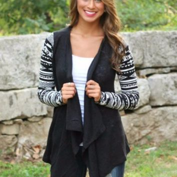 Aztec Black Cardigan
