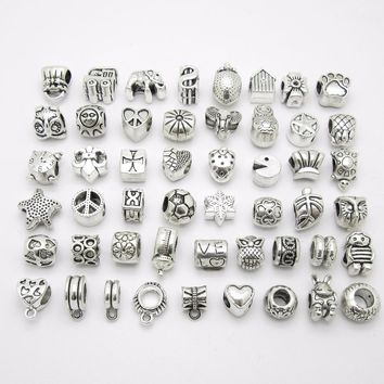 Mix beads 50pcs metal bead big hole Loose pendant fit Pandora charm Bracelets Necklace DIY Jewelry Making