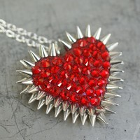 Handmade Gifts | Independent Design | Vintage Goods Red Pavèd & Spiked Heart Necklace - HAPPY HALLOWEEN!